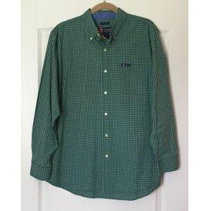 CHAPS Long Sleeve Button Down Green Plaid Shirt L